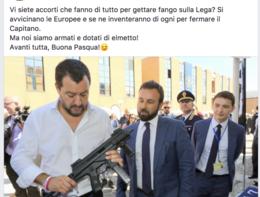 Salvini col mitra in mano. Il post che sta facendo discutere la rete