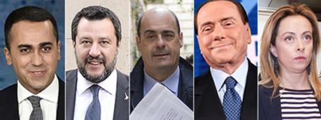 Di Maio, Salvini, Zingaretti, Berlusconi, Meloni