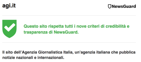 newsguard credibilità trasparenza agi