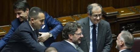 Luigi Di Maio, Giuseppe Conte, Giancarlo Giorgetti, Giovanni Tria, Massimo Garavaglia