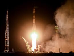 La partenza della navetta Soyuz dal cosmodromo di Baikonur