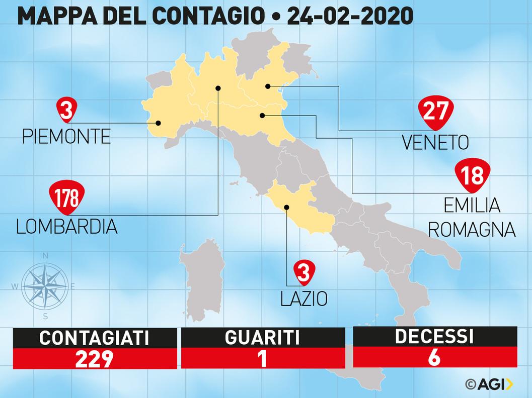 In Italia 229 contagiati da coronavirus. La Borsa brucia 38