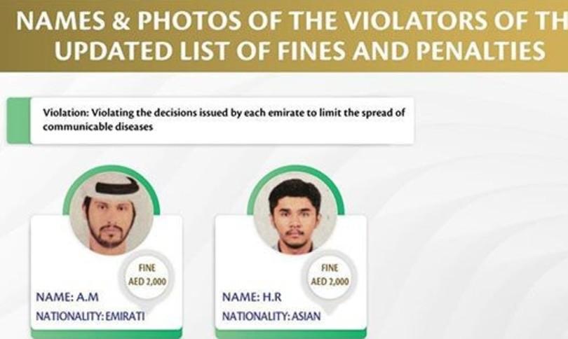 Gli Emirati arabi mettono alla gogna chi viola il 'lockdown'
