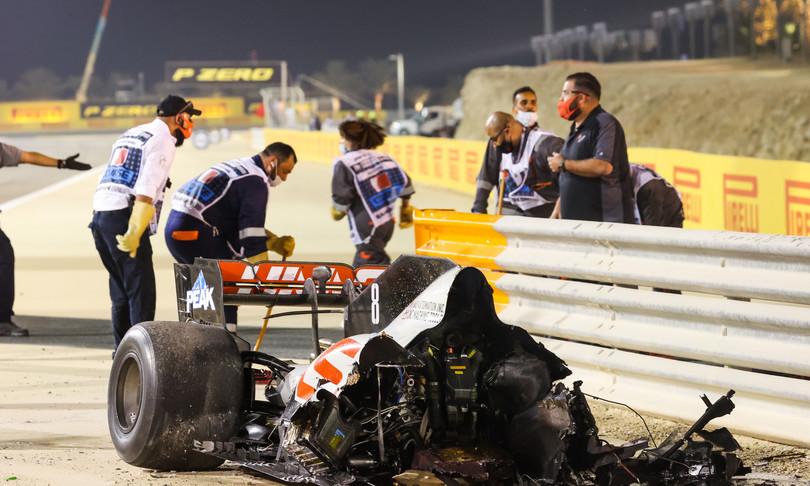 incidente grosjean video bahrain f1