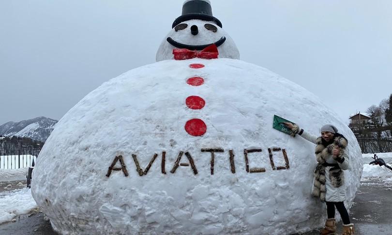 In Valseriana realizzato un pupazzo di neve da record