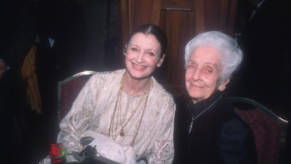 Carla Fracci con Rita Levi Montalcini nel 2001
