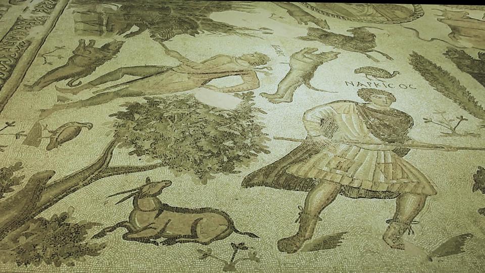 Una gazzella di montagna raffigurata in un mosaico di epoca romana