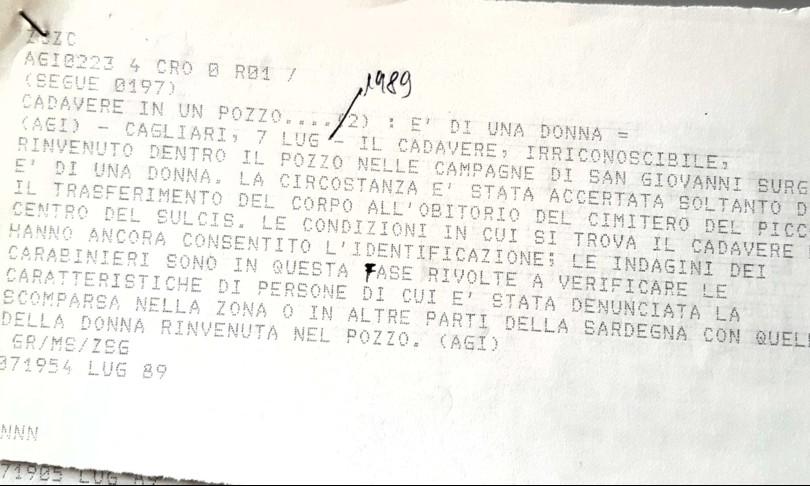 Gisella Orrù delitto pozzo Sardegna CarboniaGialli estate