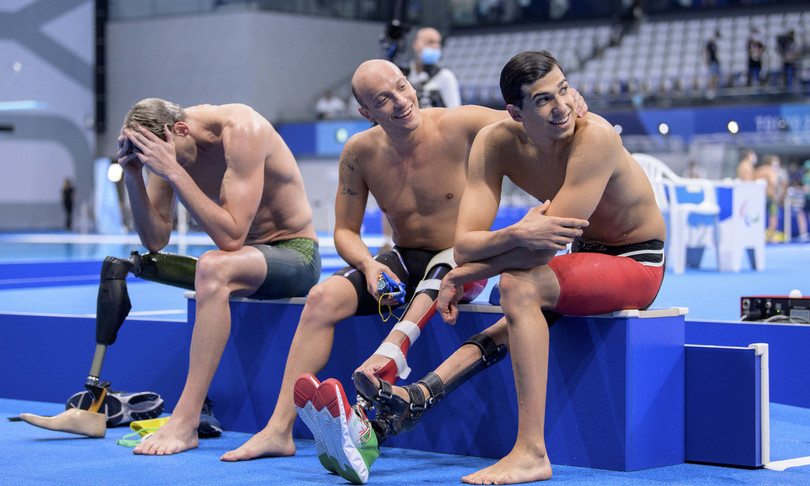 five other blue medals, gold swimming