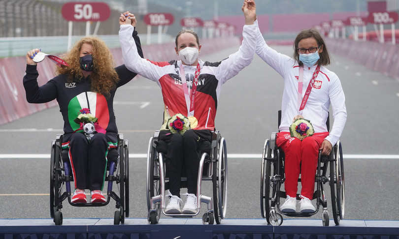 Four silvers in cycling at the Paralympics.  Porcellato in history