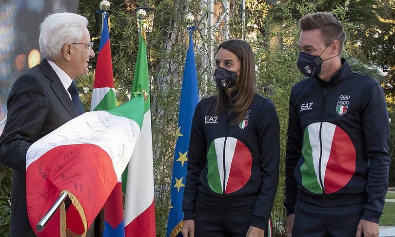 Mattarellariceve olimpionici onorato bandiera